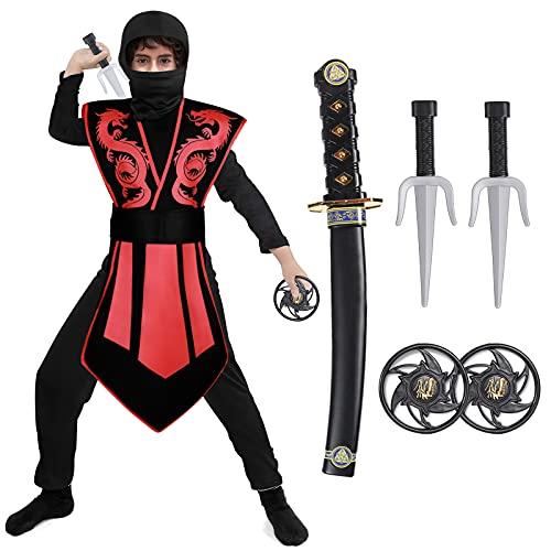 Tacobear Disfraz de Ninja para Niño Disfraz de Calavera Ninja Disfraz de Cosplay Disfraz Infantil de Halloween Negro y Rojo 3-12 Años (M(5-7 años))