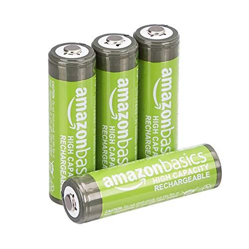 Amazon Basics - Pilas AA recargables de alta capacidad, precargadas, paquete de 4 (el aspecto puede variar)