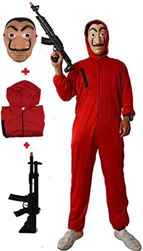 Gojoy Shop Disfraz de Ladron Atracador para Niños y Niñas Carnaval, Halloween (Contiene:Mono con Capucha Máscara y Metralleta Juquete. 4 Tallas Diferentes)… (10-12 años)