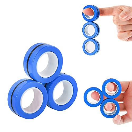 MILESTAR Anillos magnéticos Fidget Spinner Toy para niños y Adultos, Anillos de Dedo para la ansiedad, Juguetes fáciles de Llevar para aliviar el estrés, 3 Piezas (Azul)