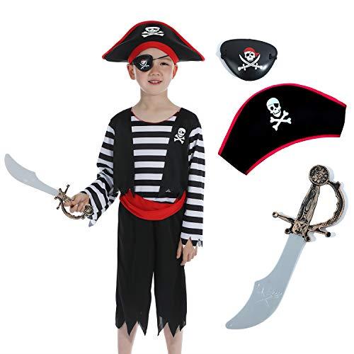 Sincere Party Disfraz infantil de pirata con sombrero, espada y antifaz, disfraz de pirata 3-4 años