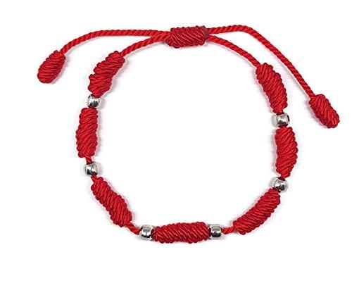 MYSTIC JEWELS by Dalia - Pulsera Kabbalah - cordón 7 Nudos de Hilo Rojo con Bolas - Unisex - Ajustable - protección de Mal de Ojo, Buena Suerte, Good Luck (Rojo)