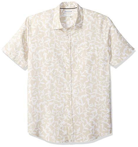 Amazon Essentials - Camisa a cuadros de lino con manga corta para hombre., Natural Leaf Print, US M (EU M)