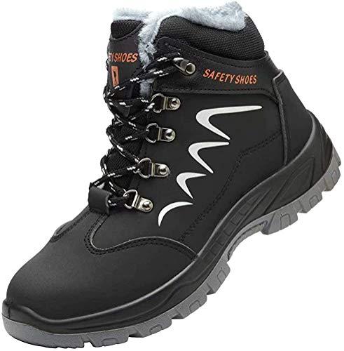 Zapatos de Seguridad Hombre Piel Forrado Invierno Cálidas Botas Punta de Anti-Piercing Zapatos de Trabajo Mujer Peso Ligero Impermeable Antideslizante Plus Cachemira Negro 40