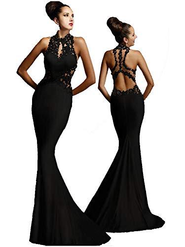 Vestido de mujer - Vestido largo y moderno - Ideal para fiestas, discoteca, etc - Elegante para ceremonias de boda o dama de honor Negro Empire M
