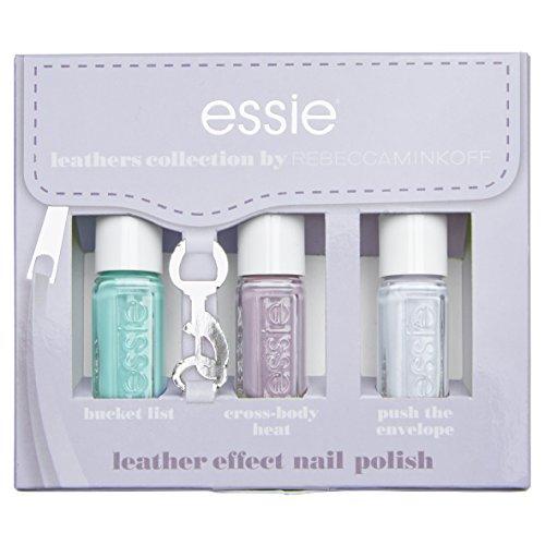 Essie, colección Leather Look Pastel Kit 3Mini esmaltes, 451push The Envelope/452Cross-body Heat/456Bucket List