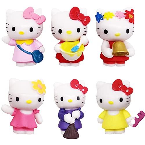 Juego de 6 Minifiguras para Decoración de Tarta de Feliz Cumpleaños de Hello Kitty, Suministros para Fiesta de Cumpleaños de Hello Kitty, Figuritas de Cupcakes para Decoración de Tartas y Coches(E)
