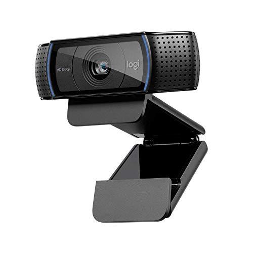 Logitech C920 HD Pro Webcam, Videoconferencias 1080P FULL HD 1080p/30 fps, Sonido Estéreo, Corrección de Iluminación HD, Skype/Google Hangouts/FaceTime, Para Gaming, PC/Mac/Android/Chromebook - Negra