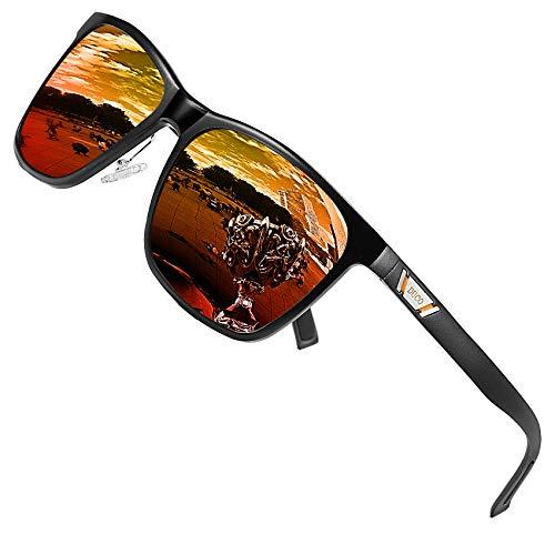 Duco Gafas de sol de metal Gafas de sol polarizadas unisex angulares con protección UV400 para deportes al aire libre 3029H (Naranja)