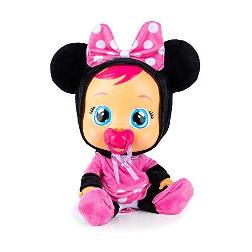 BEBÉS LLORONES Minnie Muñeca interactiva que llora de verdad con chupete y pijama de Minnie, muñeco para niñas y niños +18 meses
