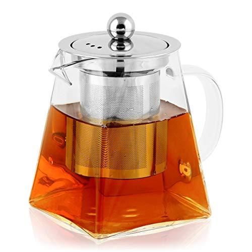 BONNACC Tetera de Vidrio 350ml con Filtro Infusor de Acero Inoxidable Resistente al Calor, Té y Café