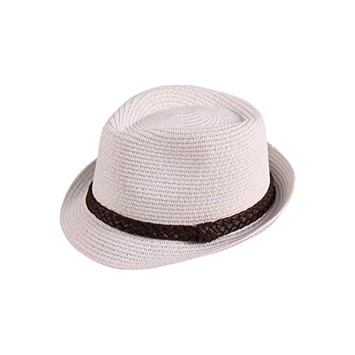 Sombrero Paja Hombre Mujer Fedora Borsarino Trilby Gorra Panamá Verano Playa ala Corta Moda Unisex (lu-129-blanco, 57cm)