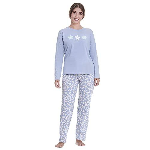 PimpamTex – Pijama de Mujer Invierno Algodón de Otoño-Invierno Camiseta Manga Larga y Pantalón Largo Estampados de Tacto Suave (XL, Flores índigo)