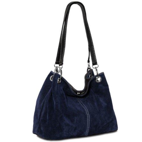 Caspar TL621 Bolso de Mano para Mujer de Cuero Genuino Italiano, Color:azul oscuro