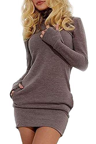 Las Mujeres En Otoño Sudaderas Vestido Casual De Largas Mangas Cuello Alto Especial Estilo Slim Fit Pullover Camiseta Vestidos Otoño Invierno (Color : Grau, Size : M)