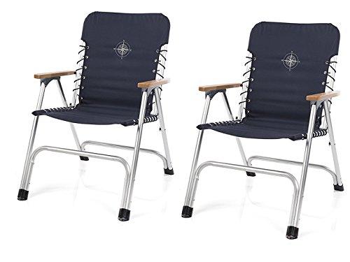 Juego de 2 sillas plegables para barco en color azul marino con reposabrazos de madera + brújula