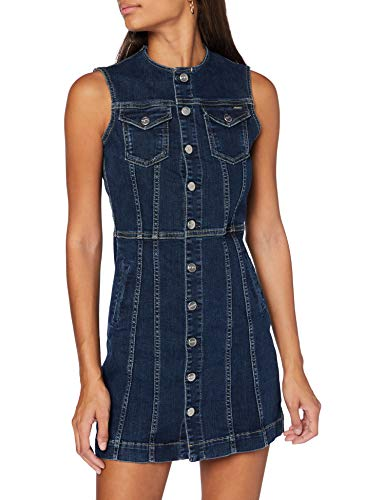Pepe Jeans Linea Vestido casual, Azul (Denim 000), Small para Mujer