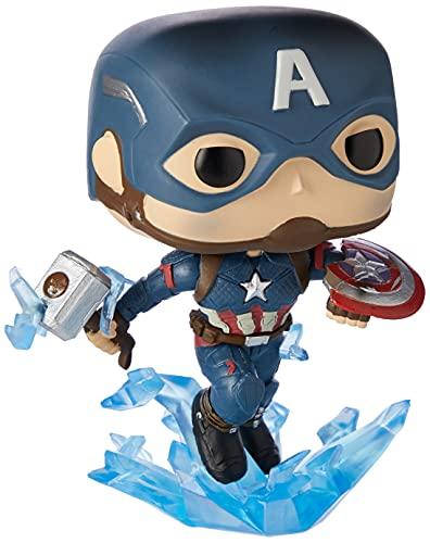 Funko- Pop Marvel: Endgame-Captain America w/BrokenShield & Mjolnir Capt A w/BrokenShield&Mjolnir Figura Coleccionable de Vinilo, Multicolor, Talla Única (45137)