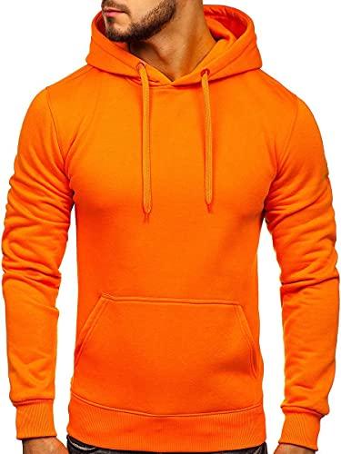 BOLF Hombre Sudadera con Capucha Pulóver Liso Blusa Sweater Hoodie Jersey Suéter Sweatshirt Outdoor Deporte Entrenamiento Básico Ocio Estilo Deportivo 2009 Naranja M [1A1]