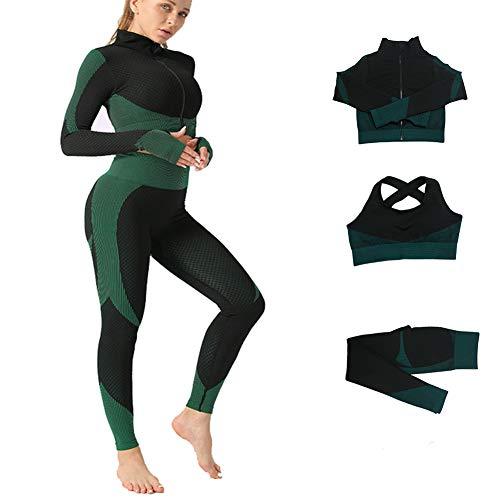 Veriliss 3 Piezas Mujer Yoga Traje Entrenamiento Para, Gym Mallas de Yoga Sin Costuras y Sujetador Deportivo Elástico Ropa de Gimnasio (PavorealAzul, S)