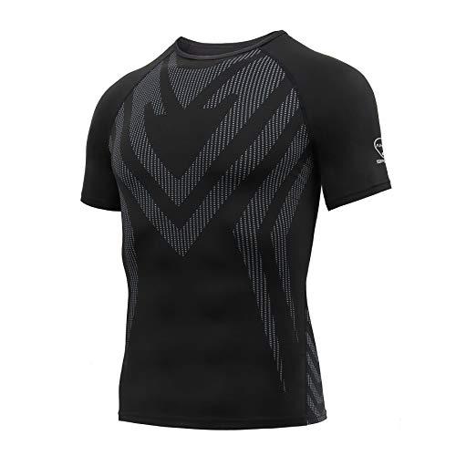 AMZSPORT Camisa de Compresión Deportiva para Hombre Camiseta de Manga Corta Camiseta de Secado Rápido Capa Base para Correr, Negro XL