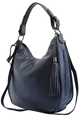 AmbraModa Bolso italiano para mujer bolso de hombro Hobo Bag de cuero genuino GL026 (azul oscuro)