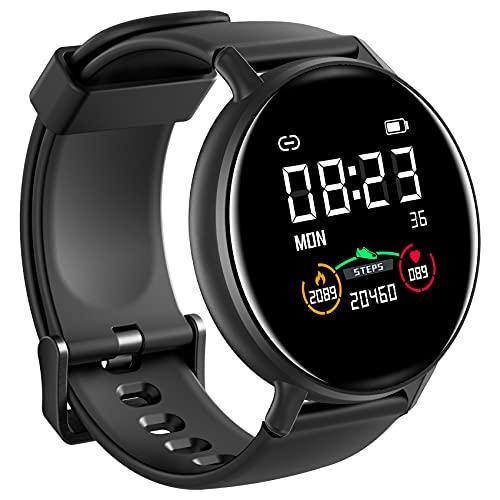 IOWODO Smartwatch Mujer Hombre Con Esfera Personalizada, Reloj Inteligente Impermeable Con Notificación de Mensajes, Monitor de Sueño,Podómetro,Calorías, Pulsera Actividad Inteligente Para IOS Android