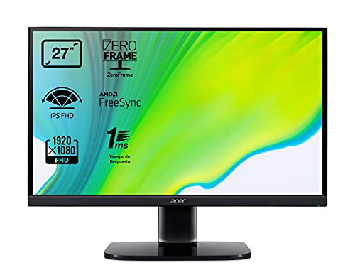 Acer KA272bi - Monitor de 27' Full HD 75 Hz (68,6 cm, 1920x1080, Pantalla IPS LED, ZeroFrame y FreeSync, 250 nits, Tiempo de Respuesta 1ms VRB, VGA, HDMI) - Color Negro
