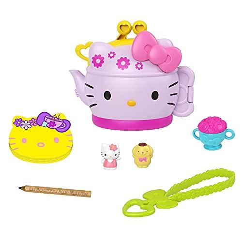 Hello Kitty Cofre con forma de tetera con muñecos y accesorios de juguete (Mattel GVB31)