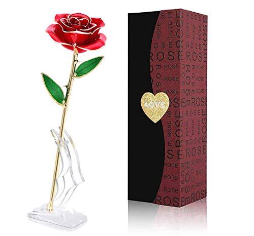 Rosa Oro 24k, Regalo para Madres Rosa Eterna Flore, Rosa de Oro Regalo para Esposa o Mom de Navidad, San Valentí, Día de la Madre, Aniversario, Cumpleaños (Rosa Rojo)