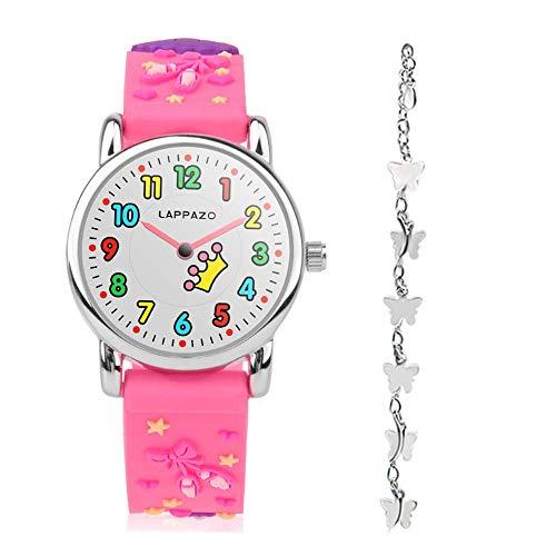 LAPPAZO- Reloj Niña de Analógico Cuarzo con Correa de 3D Dibujos Kit de Princesa y Pulsera Plata Mariposa con Caja de Regalo para Niñas 3-15 Años