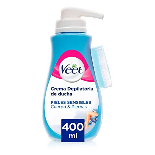 Veet Crema Depilatoria Corporal para Usar Bajo la Ducha para Mujer, con Dosificador, Piel Sensible - 400 ml