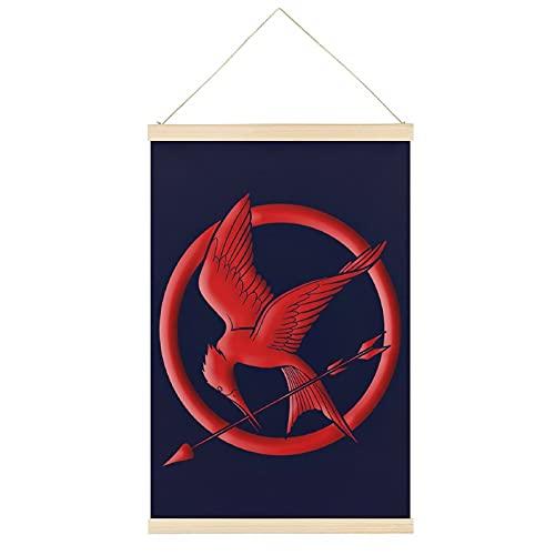 Oldove Marco para póster colgante de Hunger Games en color rojo, lienzo para pared, decoración del hogar, 40,6 x 60,9 cm