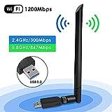 Penobon WiFi USB Adaptador, Antena WiFi USB Inalámbrico Dual Band 2.4G / 5.8G 802.11 AC WiFi Dongle con Antena de 5dBi Receptor Soporte Windows 10/8/8.1/7/Vista/XP/2000,Mac OS 10.4-10.12
