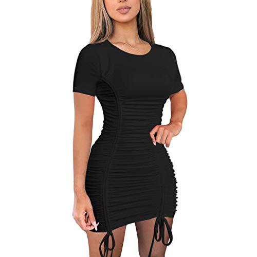 AMABILEMIA Vestido mujer sexy de manga corta mini vestido de verano elegante de noche vestido corto casual cuello redondo Cóctel Party AM352, Negro , L
