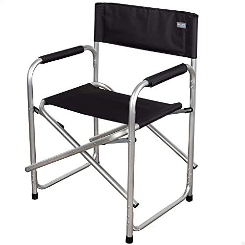Aktive 62617 - Silla director plegable, 45 x 56 x 81 cm, Silla camping plegable, color negro, aluminio, 100 Kg de peso máximo, altura del suelo 43,5 cm, Silla de camping, Aktive