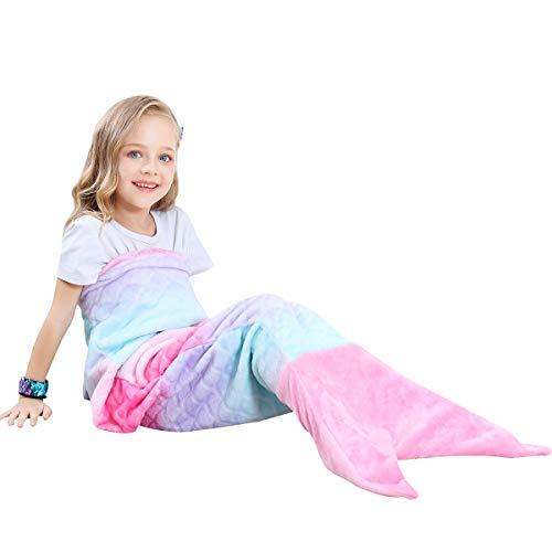 VHOME Niños Manta de Sirena Regalos Mejor - Manta de Sofá de Sala de Estar Cálida Personalizada para Regalo de cumpleaños de Navidad (V1-Rosa, Niños 120cm x 48cm)