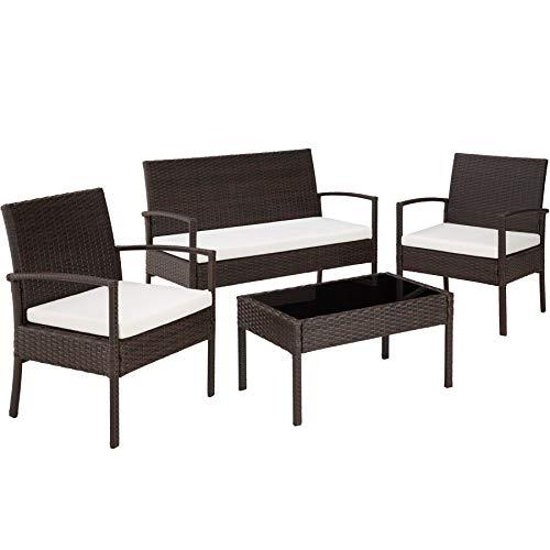TecTake Conjunto muebles de Jardín en Poly Ratan Sintetico - negro 4 plazas, 2 sillones, 1 mesa baja, 1 banco (Negro/Marrón)