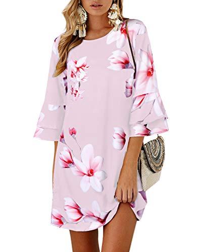 YOINS Vestido Casual para Mujer Verano Vestidos Largos de Fiesta Manga Corta con Cuello Redondo Tops Floral~Pink Small