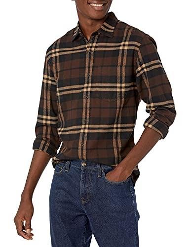 Amazon Essentials - Camisa de franela a cuadros de manga larga y ajuste regular para hombre, Marrón (Brown Plaid), US XXL (EU XXXL - 4XL)