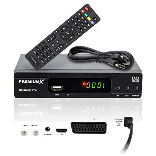 PremiumX Receptor satélite HD 520SE FTA Digital SAT Receptor de TV DVB-S2 FullHD HDMI SCART USB reproductor multimedia Astra Hotbird preprogramado
