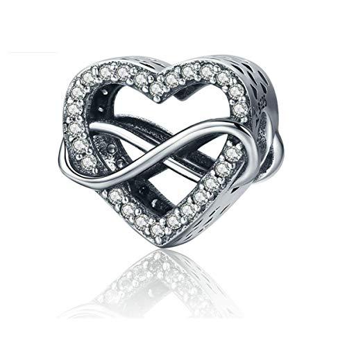 Annmors Abalorios Charms Colgantes de Corazón de amor infinito Cuentas Plata de Ley 925 con Compatible con Pulsera & Europeo,Charms para Mujer Niña