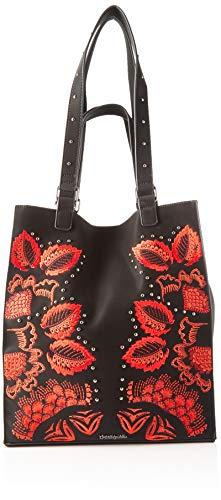 Desigual Bag Gemini Colorado, Bolsa de capazo para Mujer, Negro, 36x16x31 centimeters (B x H x T)