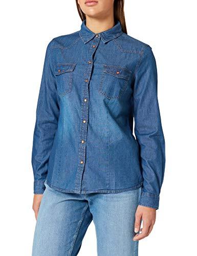 Springfield Camisa Vaquera Básica, Azul Medio, 38 para Mujer