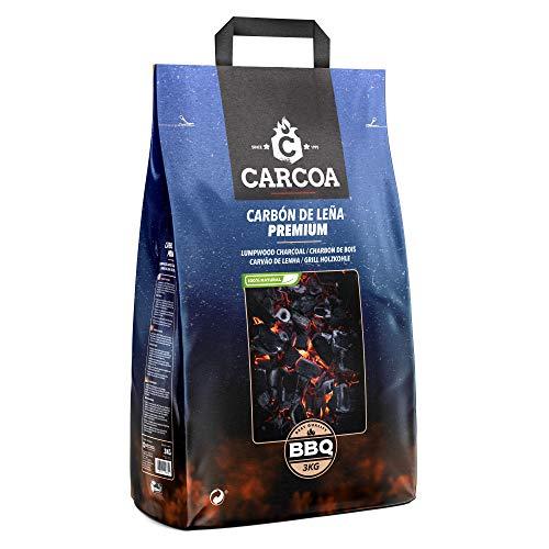 Carbón Vegetal Carcoa 3 Kg. Especial para Barbacoa y Grill. Rápido encendido y larga duración. Calidad Premium.