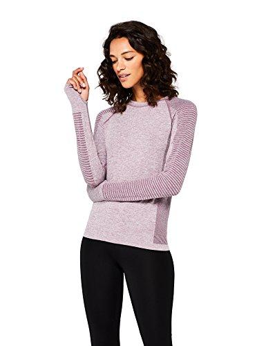 Marca Amazon - AURIQUE Camiseta Deportiva de Manga Larga sin Costuras Mujer, Morado (Purple Gumdrop Marl), 44, Label:XL