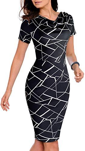 Edjude Vestido de Negocios Mujer Ajustado de Manga Corto Oficina Elegante Cóctel con Cuello Redondo Trabajo Negro Geom M
