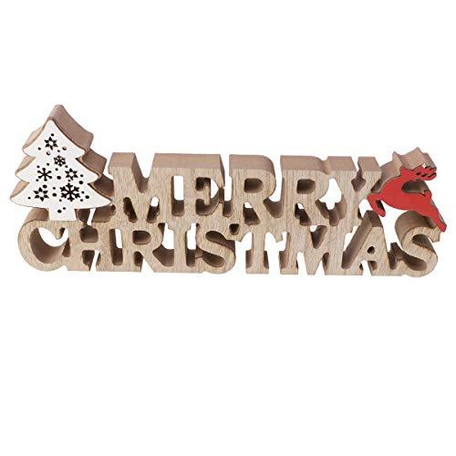 LIOOBO decoraciones de escritorio de navidad de madera letras árbol de navidad forma de alce adorno de mesa de navidad con luz para regalo de decoración de navidad