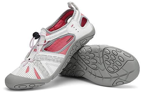 SAGUARO Sandalias de Verano para Mujer Antideslizante Sandalias Deportivas de Playa Zapatillas de Montaña Senderismo Blanco 36 EU