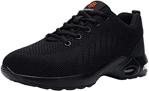 DYKHMILY Zapatos de Seguridad Mujer Ligeras Calzado de Seguridad Deportivo Zapatillas Seguridad Trabajo con Punta de Acero Colchón de Aire Transpirables Reflectante Cómodo (Profundo Negro,36 EU)